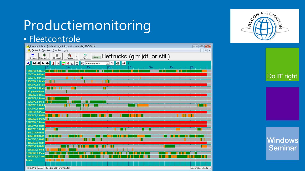 Productiemonitoring Fleetcontrole