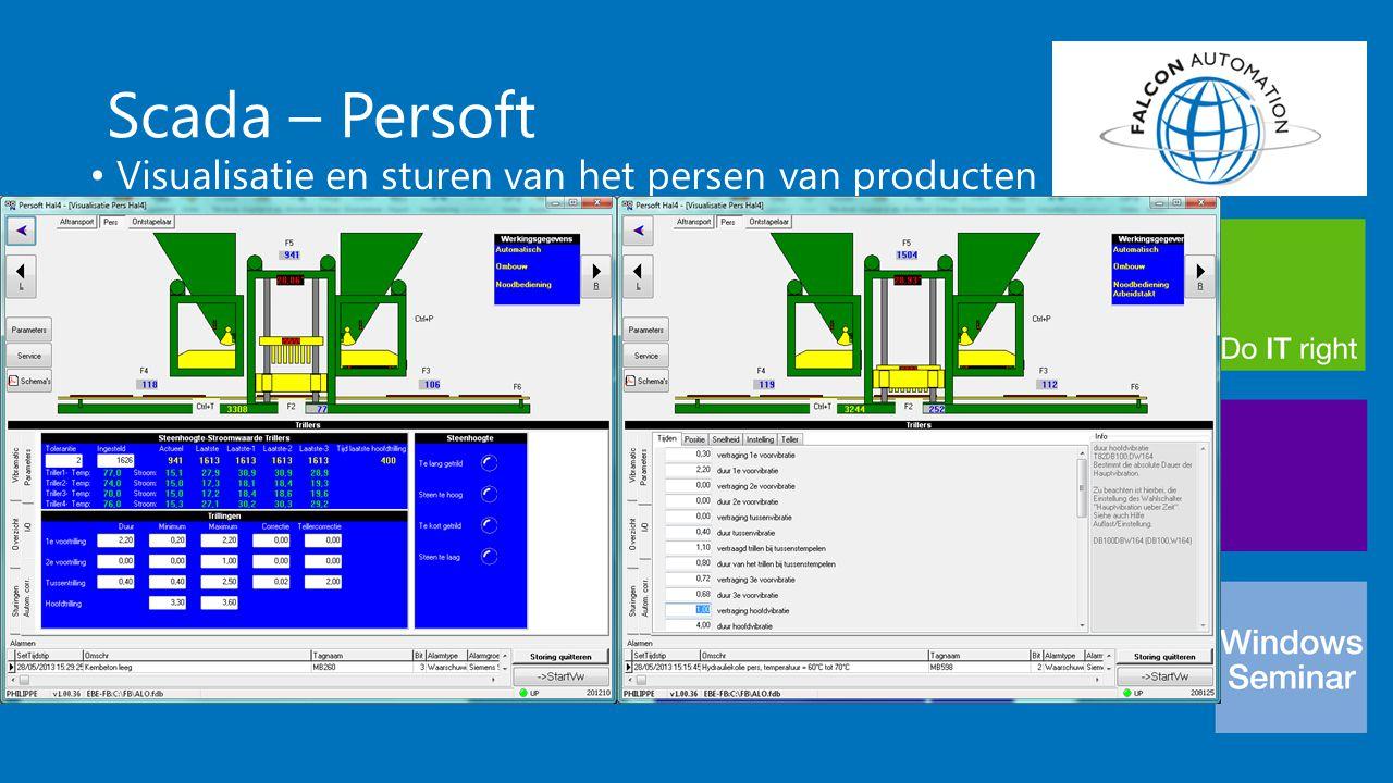 Scada – Persoft Visualisatie en sturen van het persen van producten