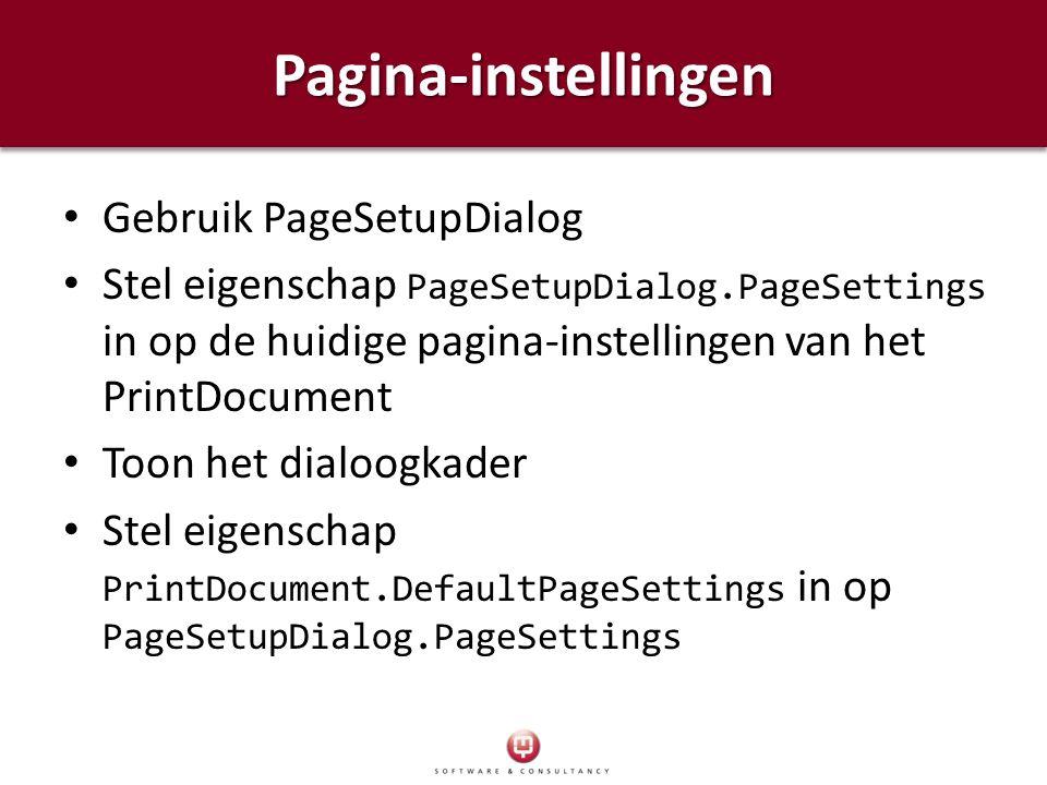 Pagina-instellingen Gebruik PageSetupDialog