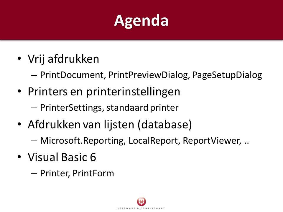 Agenda Vrij afdrukken Printers en printerinstellingen