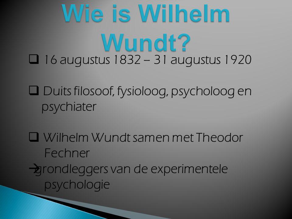 Wie is Wilhelm Wundt 16 augustus 1832 – 31 augustus 1920