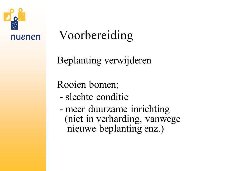 Voorbereiding Beplanting verwijderen Rooien bomen; - slechte conditie