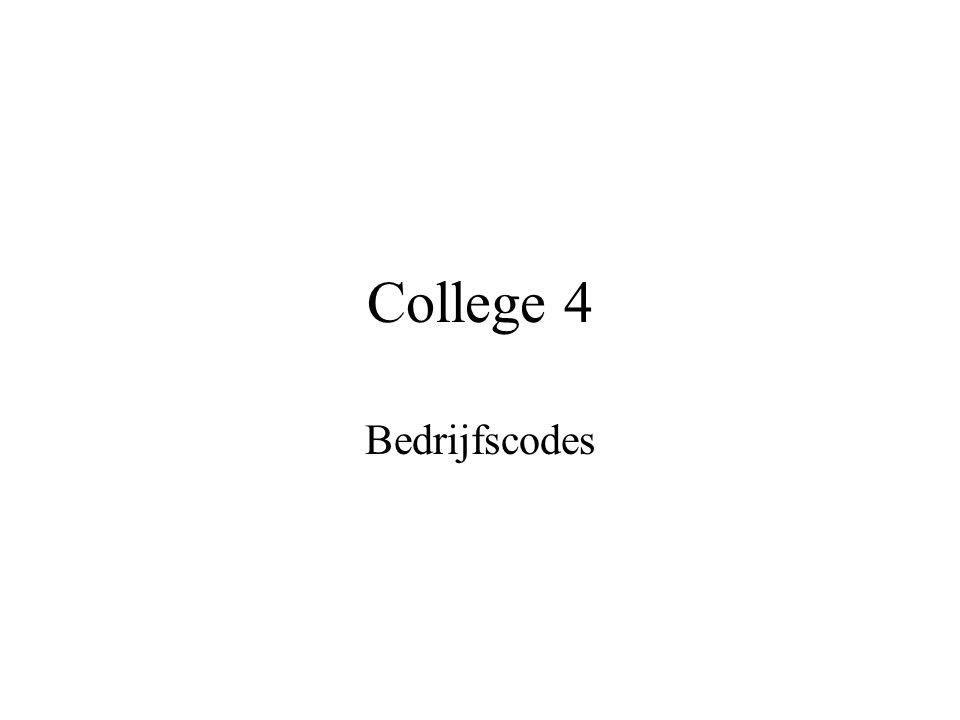 College 4 Bedrijfscodes