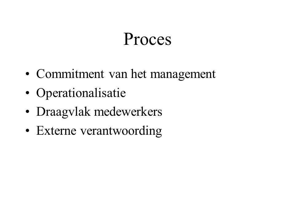 Proces Commitment van het management Operationalisatie