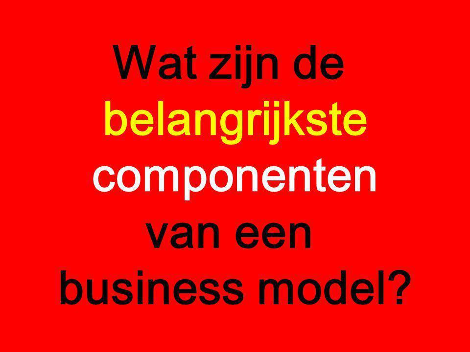 Wat zijn de belangrijkste componenten van een business model