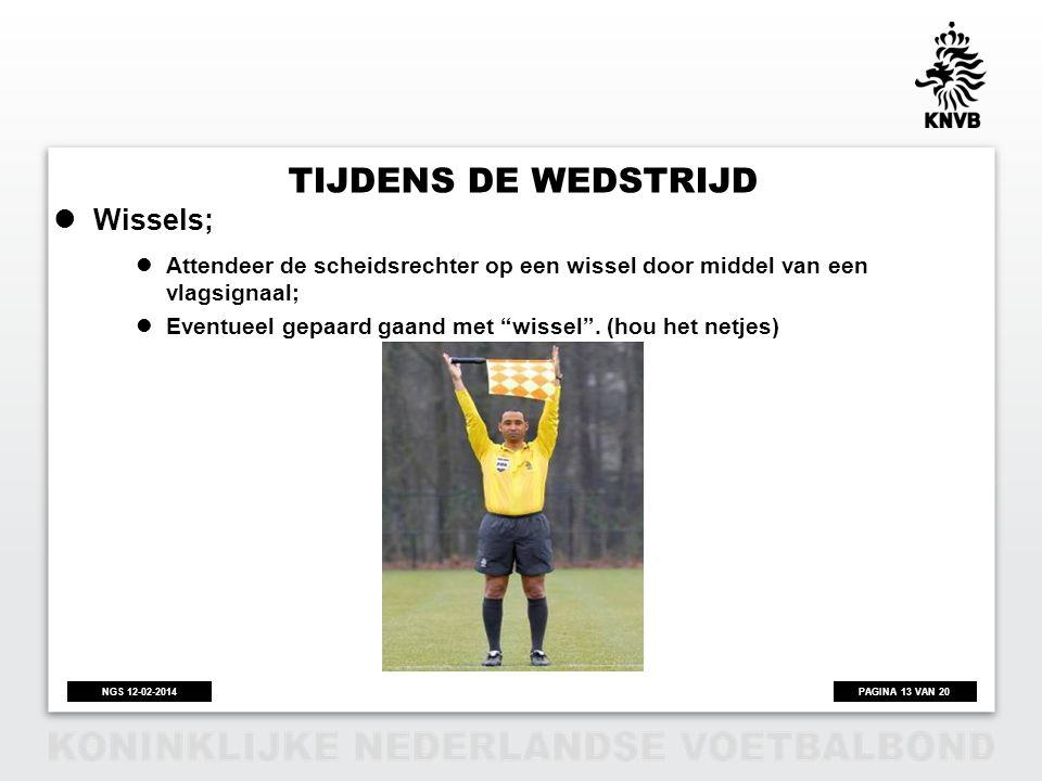 Tijdens de wedstrijd Wissels;