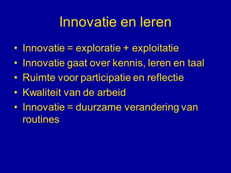 Innovatie en leren Innovatie = exploratie + exploitatie