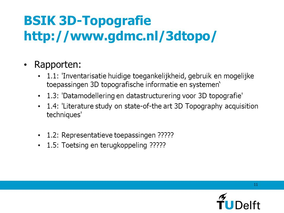 BSIK 3D-Topografie http://www.gdmc.nl/3dtopo/