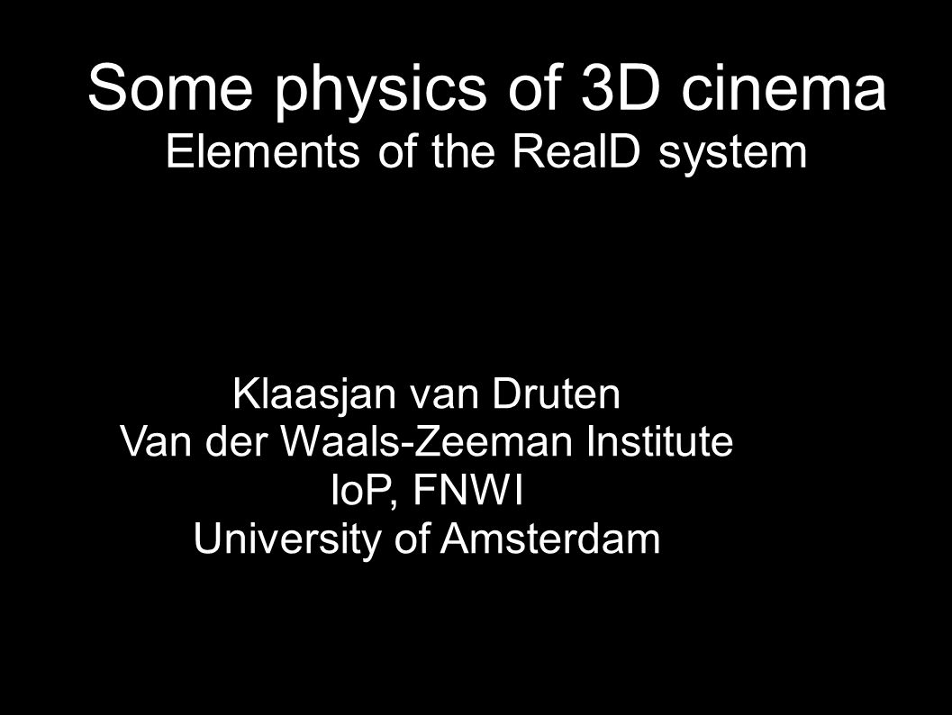 Some physics of 3D cinema