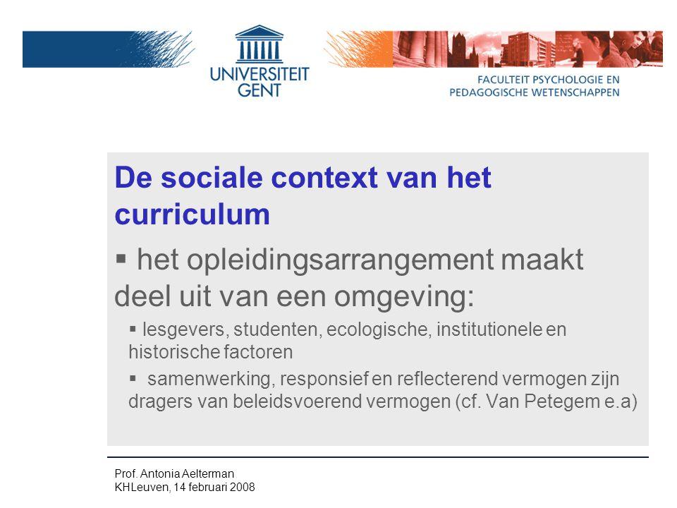 De sociale context van het curriculum