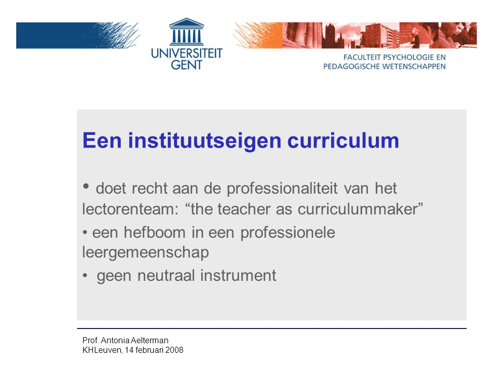 Een instituutseigen curriculum