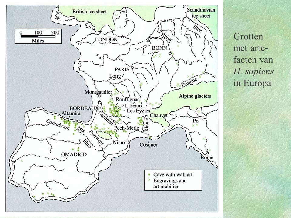 Grotten met arte-facten van H. sapiens in Europa