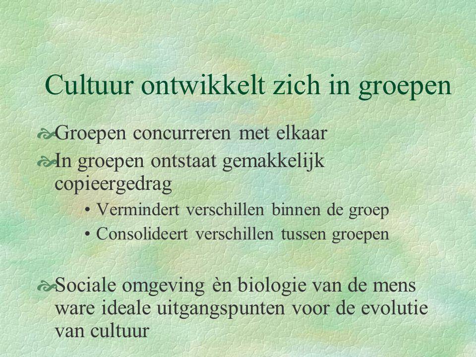 Cultuur ontwikkelt zich in groepen