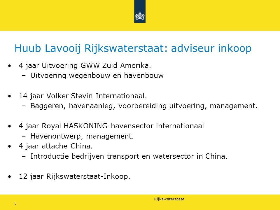 Huub Lavooij Rijkswaterstaat: adviseur inkoop