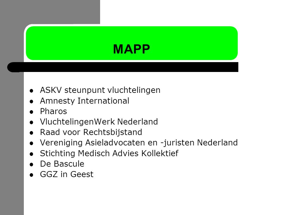 MAPP ASKV steunpunt vluchtelingen Amnesty International Pharos