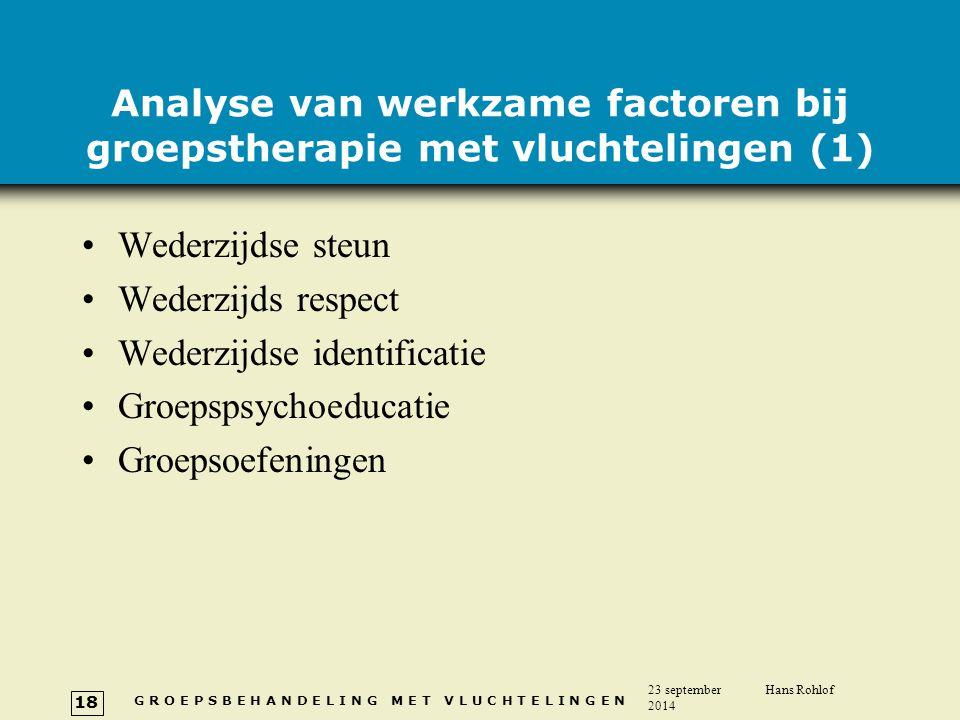 Analyse van werkzame factoren bij groepstherapie met vluchtelingen (1)