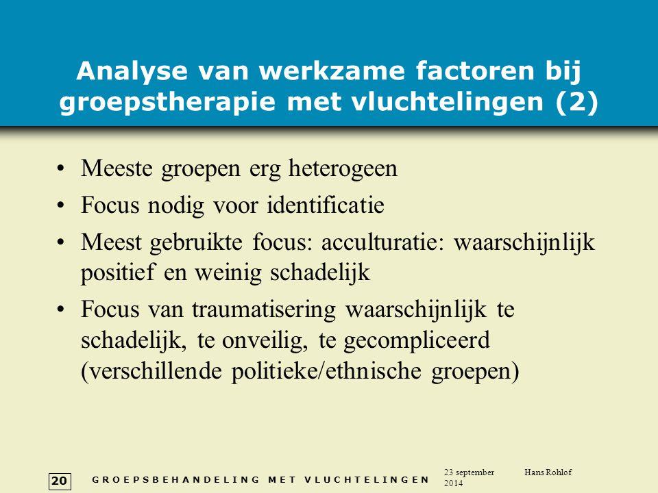 Analyse van werkzame factoren bij groepstherapie met vluchtelingen (2)