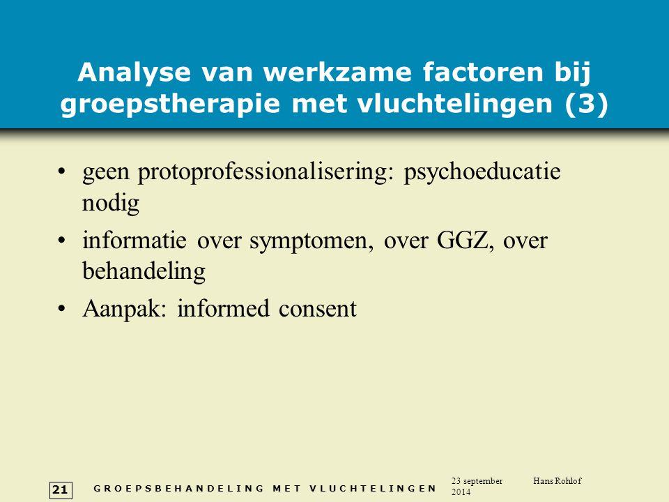 Analyse van werkzame factoren bij groepstherapie met vluchtelingen (3)