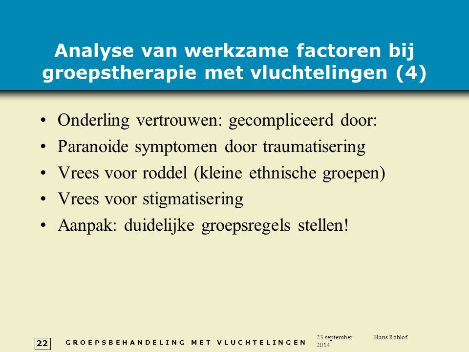 Analyse van werkzame factoren bij groepstherapie met vluchtelingen (4)