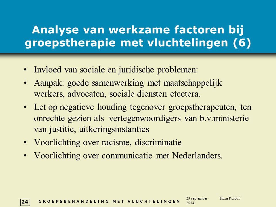 Analyse van werkzame factoren bij groepstherapie met vluchtelingen (6)