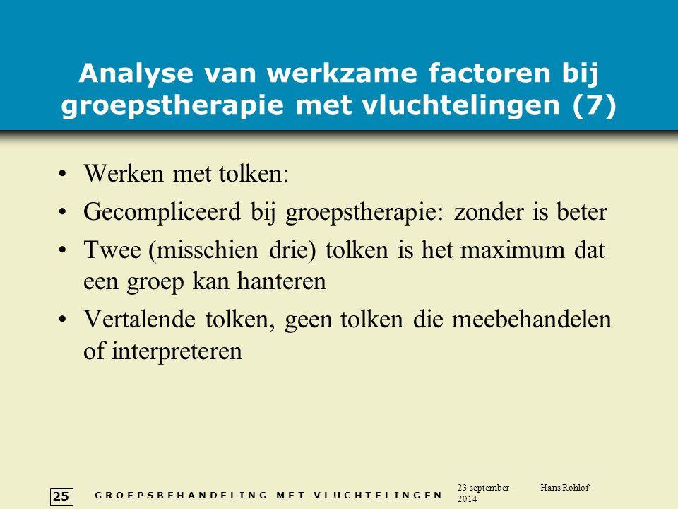 Analyse van werkzame factoren bij groepstherapie met vluchtelingen (7)