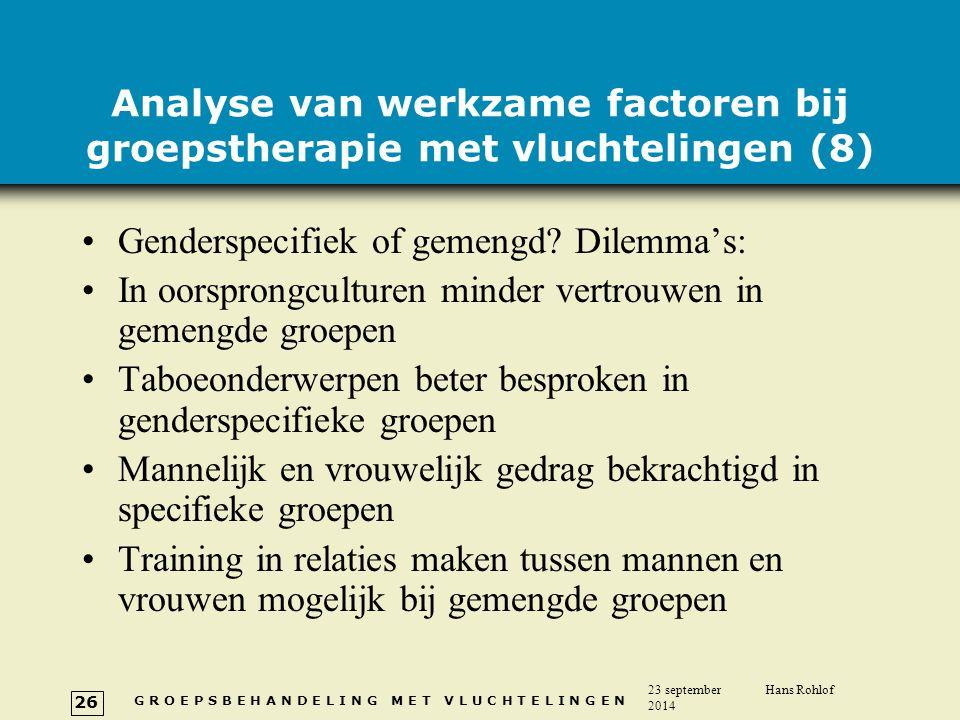 Analyse van werkzame factoren bij groepstherapie met vluchtelingen (8)