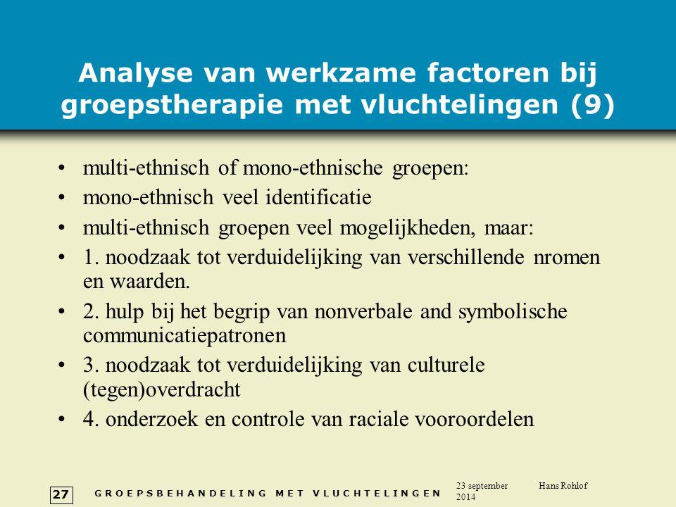 Analyse van werkzame factoren bij groepstherapie met vluchtelingen (9)