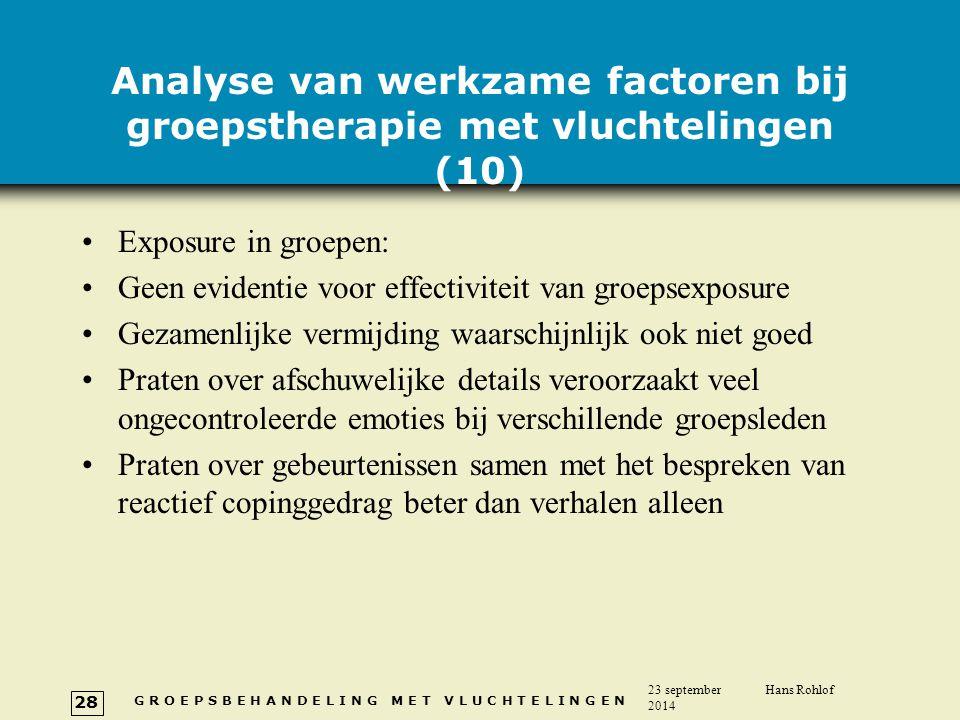 Analyse van werkzame factoren bij groepstherapie met vluchtelingen (10)