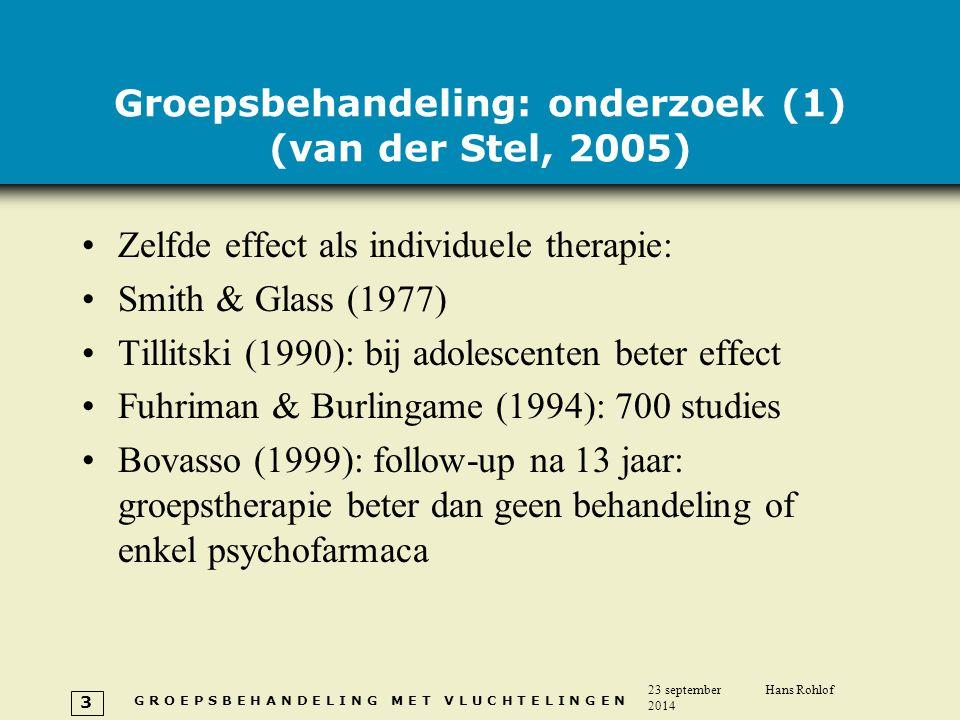 Groepsbehandeling: onderzoek (1) (van der Stel, 2005)