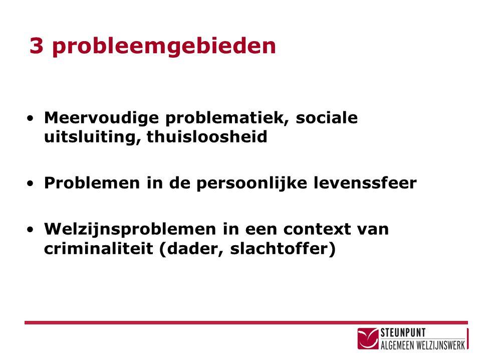 3 probleemgebieden Meervoudige problematiek, sociale uitsluiting, thuisloosheid. Problemen in de persoonlijke levenssfeer.