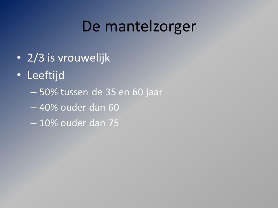 De mantelzorger 2/3 is vrouwelijk Leeftijd 50% tussen de 35 en 60 jaar