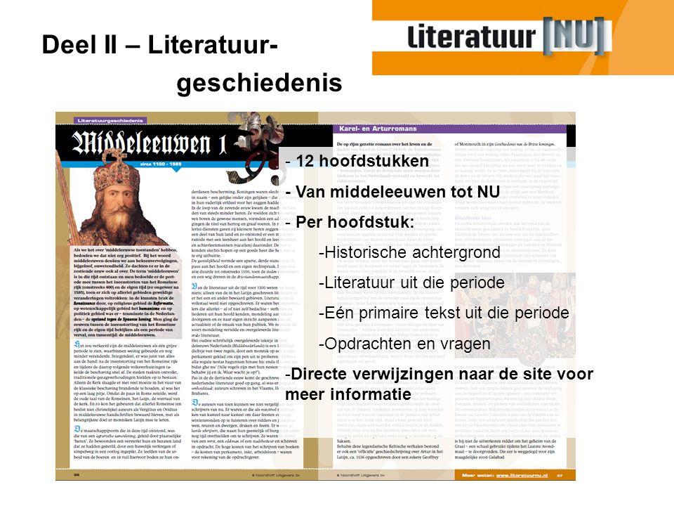 Deel II – Literatuur- geschiedenis 12 hoofdstukken