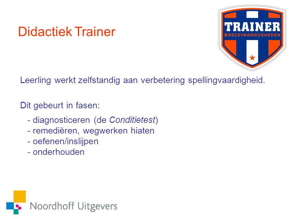 Didactiek Trainer Leerling werkt zelfstandig aan verbetering spellingvaardigheid. Dit gebeurt in fasen: