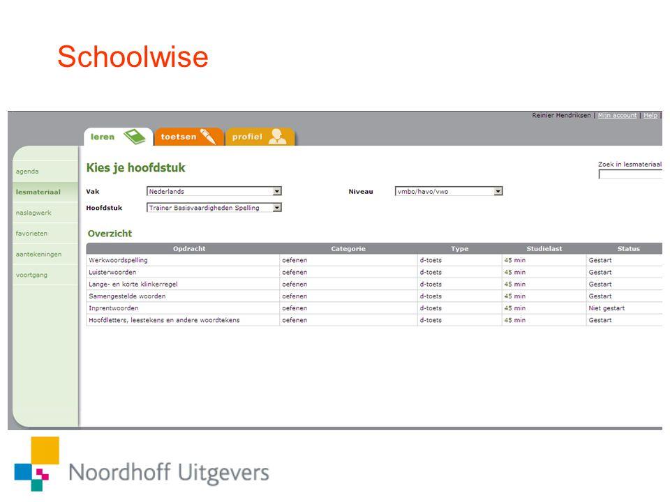 Schoolwise Programma TBV te openen via Schoolwise. Klik op onderdeel: