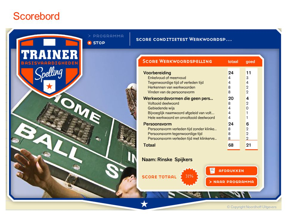Scorebord SCOREBORD. Links kolom aantal opdrachten per onderdeel / Rechts kolom aantal goed. Onderaan totale score.