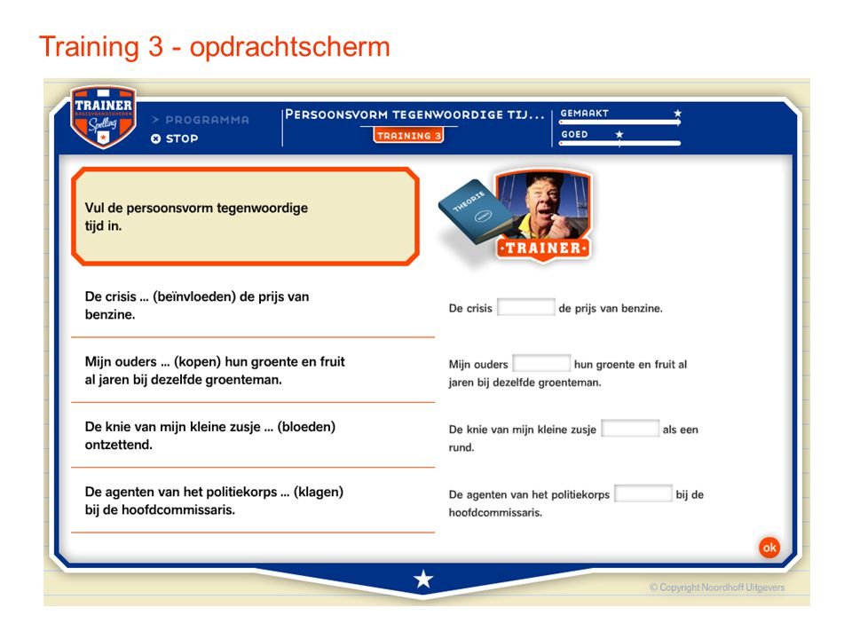 Training 3 - opdrachtscherm