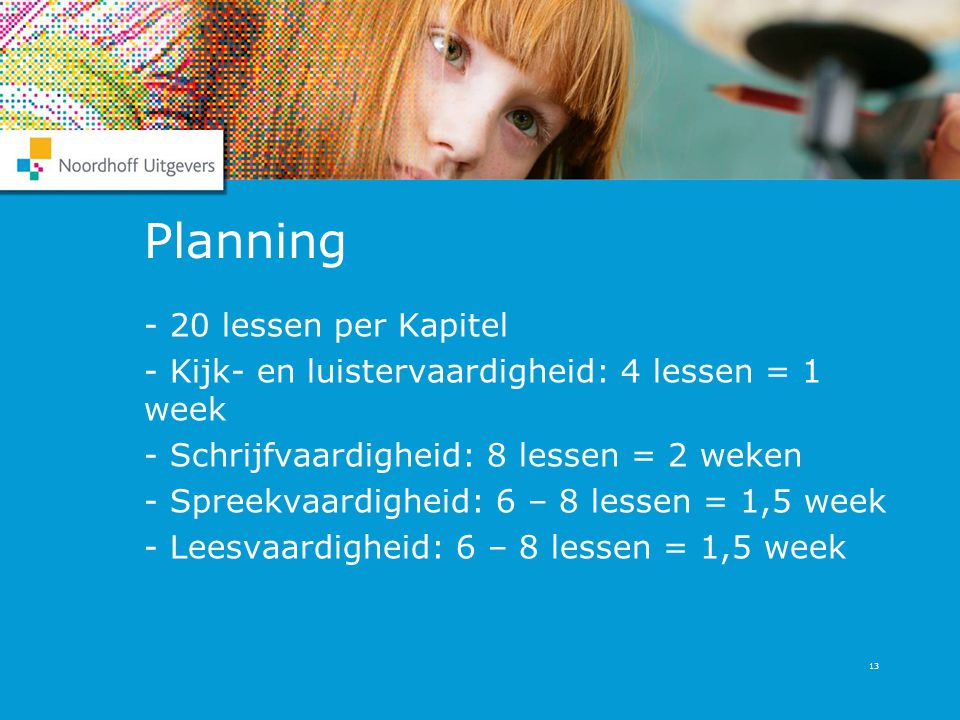 Planning - 20 lessen per Kapitel