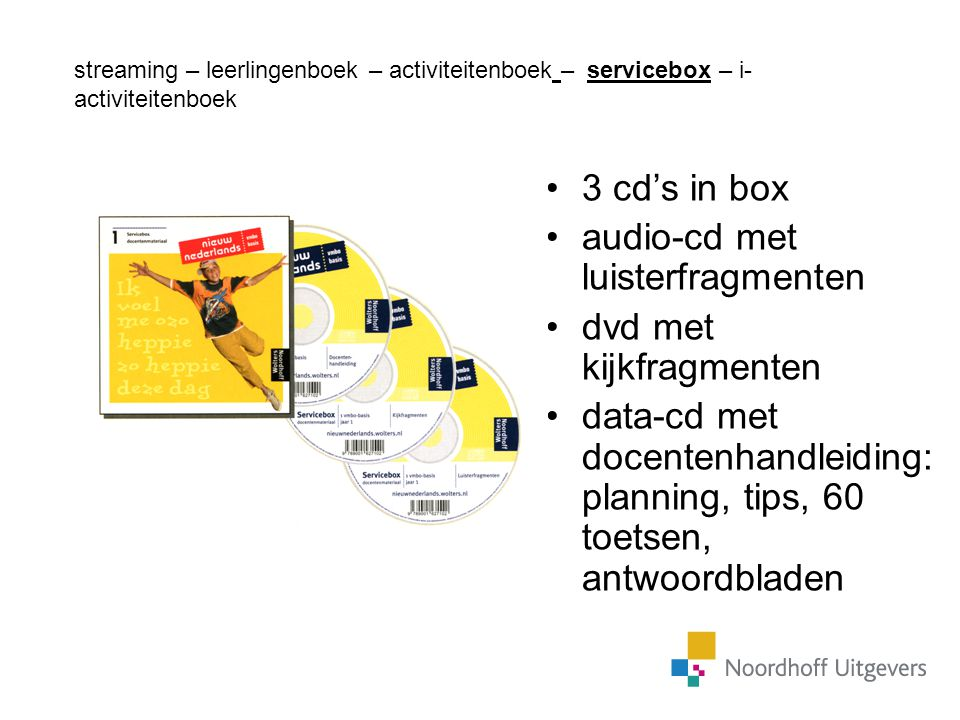audio-cd met luisterfragmenten dvd met kijkfragmenten