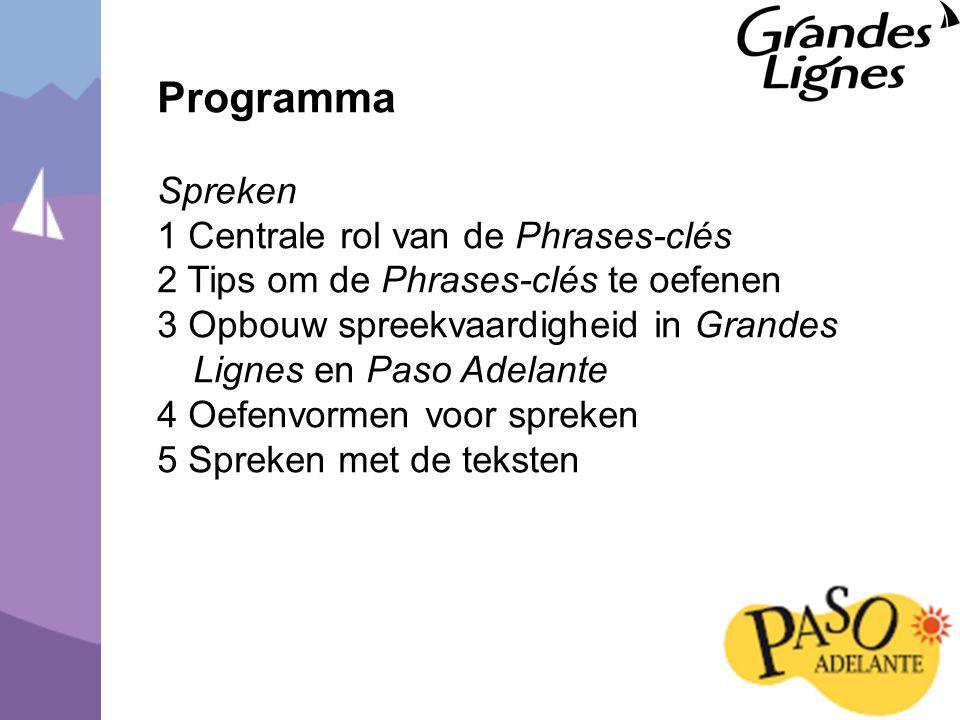 Programma Spreken 1 Centrale rol van de Phrases-clés