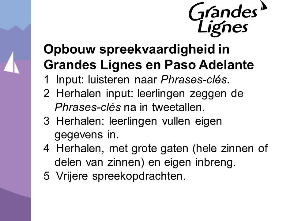 Opbouw spreekvaardigheid in Grandes Lignes en Paso Adelante