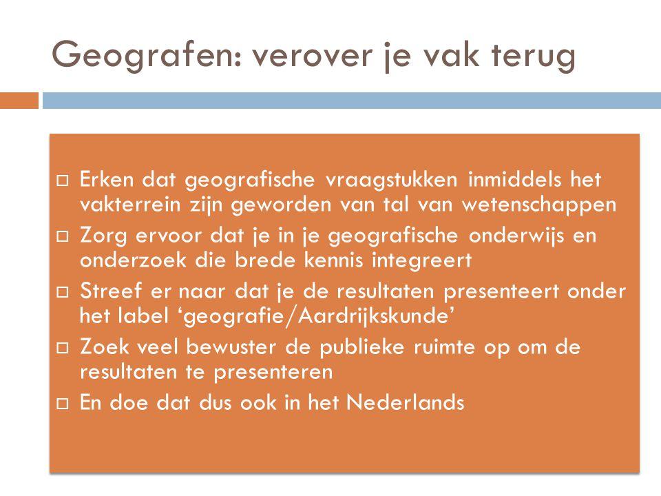 Geografen: verover je vak terug