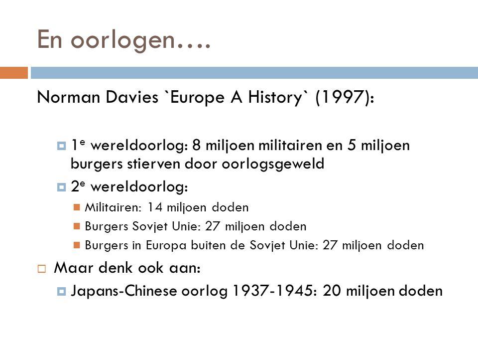 En oorlogen…. Norman Davies `Europe A History` (1997):