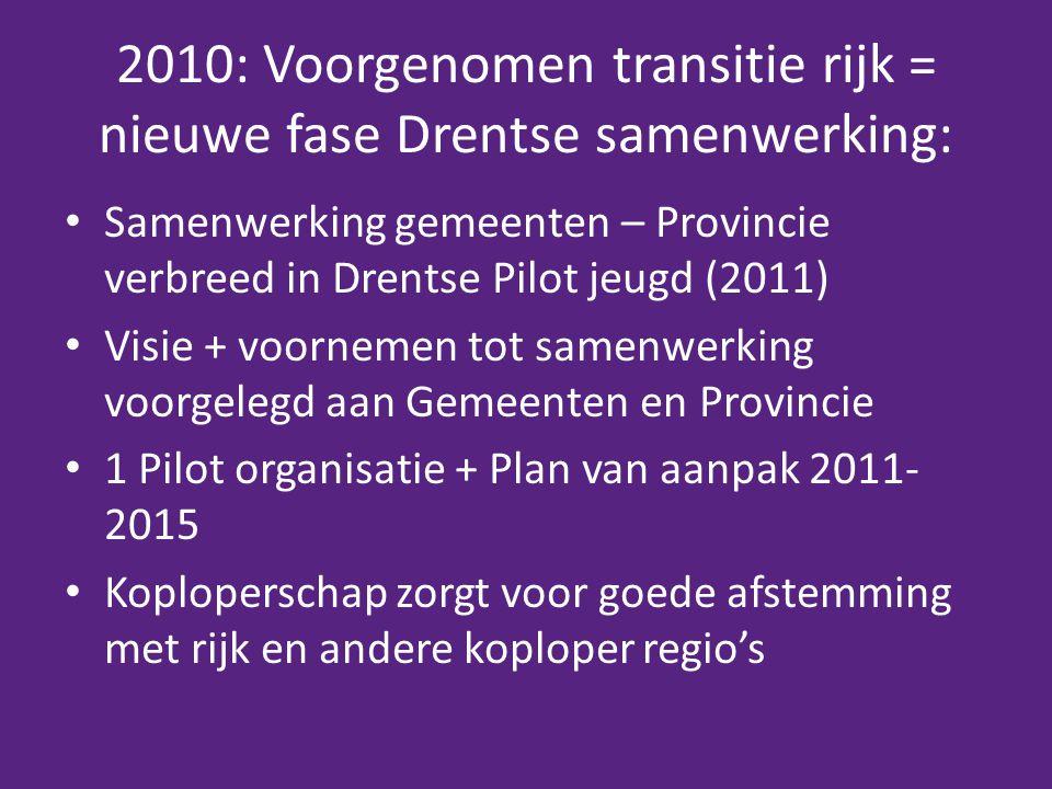 2010: Voorgenomen transitie rijk = nieuwe fase Drentse samenwerking: