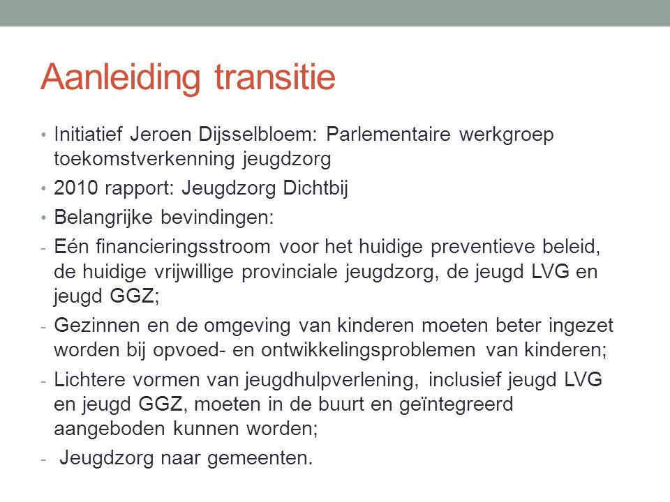 Aanleiding transitie Initiatief Jeroen Dijsselbloem: Parlementaire werkgroep toekomstverkenning jeugdzorg.