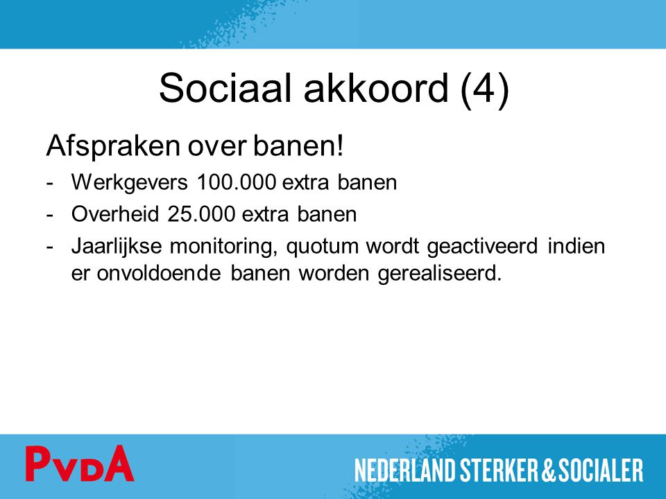 Sociaal akkoord (4) Afspraken over banen!