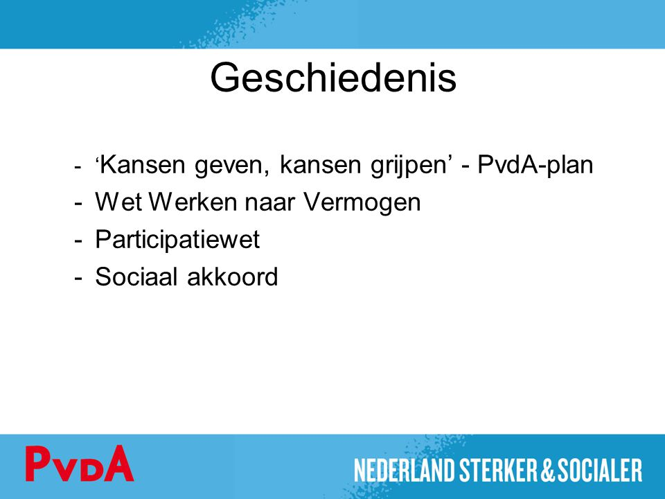 Geschiedenis Wet Werken naar Vermogen Participatiewet Sociaal akkoord