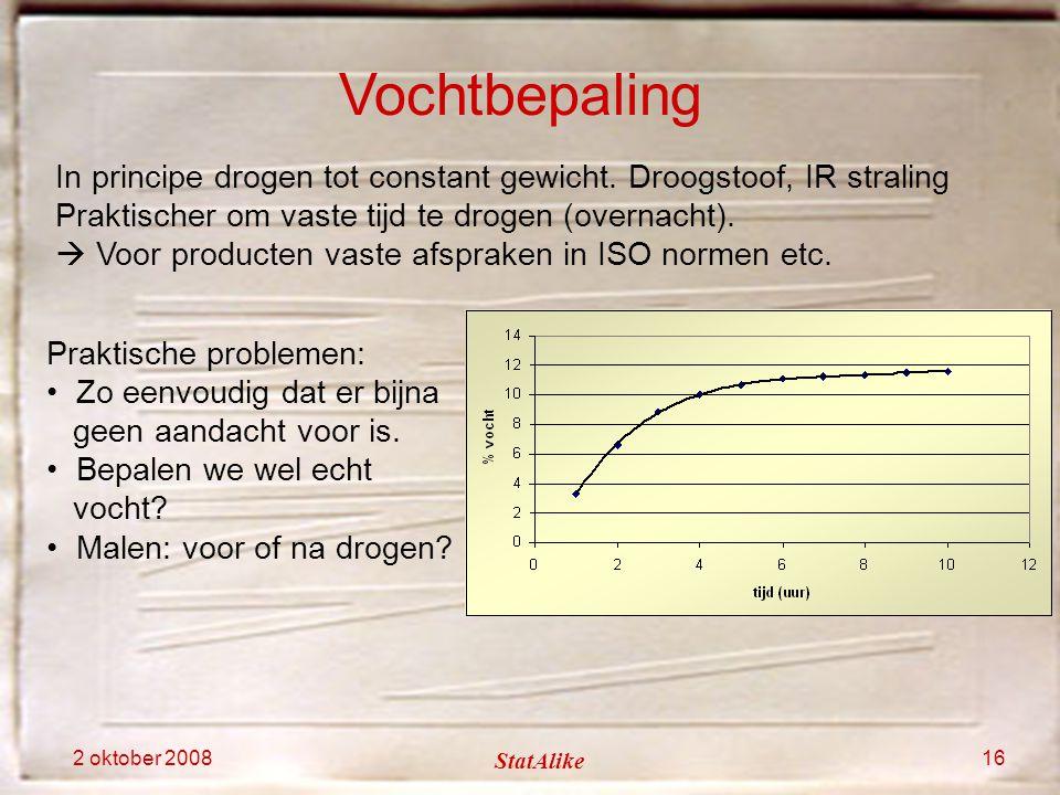 Vochtbepaling In principe drogen tot constant gewicht. Droogstoof, IR straling. Praktischer om vaste tijd te drogen (overnacht).