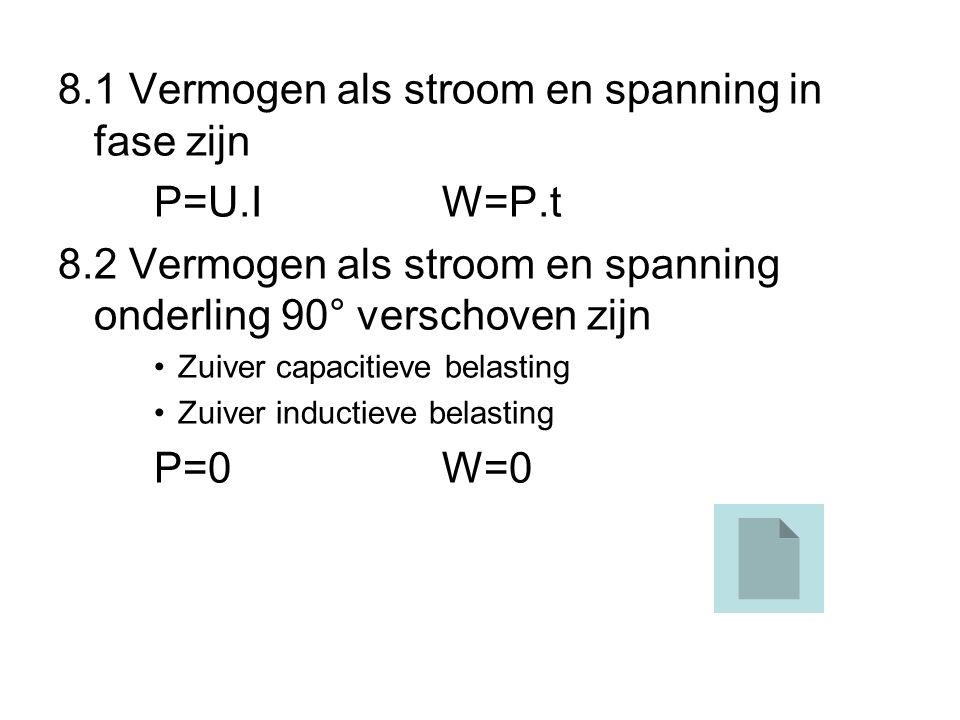 8.1 Vermogen als stroom en spanning in fase zijn P=U.I W=P.t