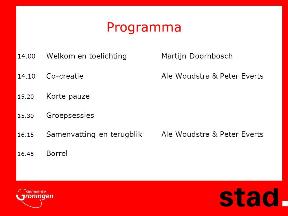 Programma 14.00 Welkom en toelichting Martijn Doornbosch