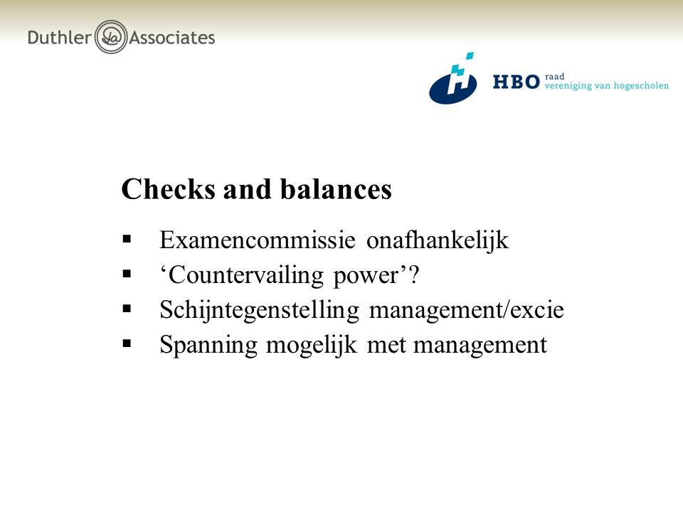 Checks and balances Examencommissie onafhankelijk